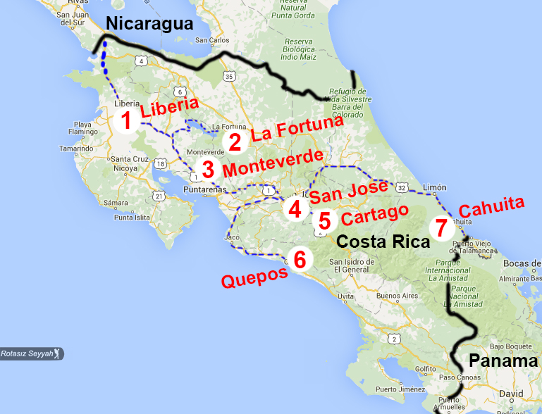 Kosta Rika harita